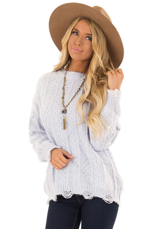 ac552de4dbca Periwinkle Cable Knit Sweater with Distressed Details - Lime Lush ...