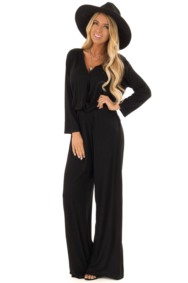c4be29dbfa58 Midnight Black V Neck Jumpsuit with Long Sleeves - Lime Lush Boutique