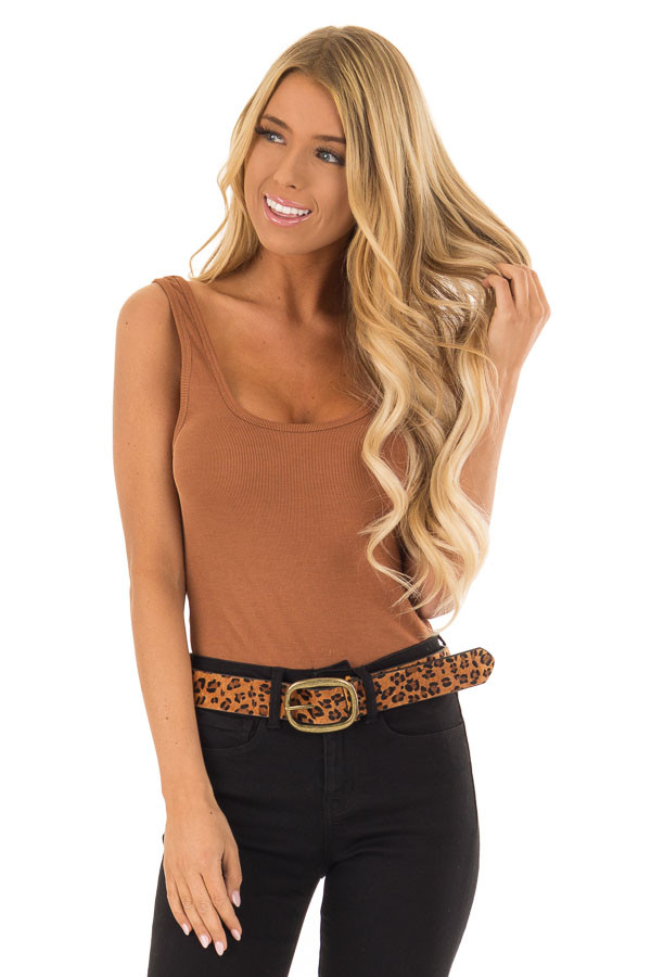 Toffee and Black Leopard Print Leather Belt with Gold Buckle front close up