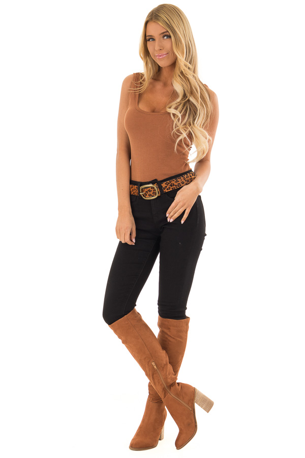 Toffee and Black Leopard Print Leather Belt with Gold Buckle front full body
