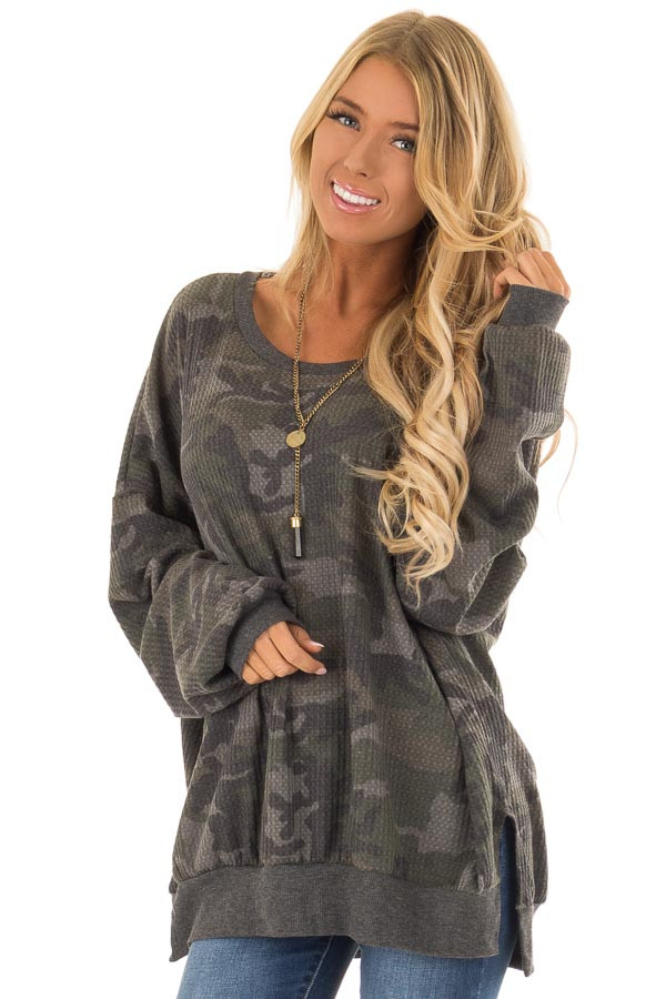 358270e03382f2 Camo Waffle Knit Long Sleeve Dolman Top with Cuffed Sleeves front close up