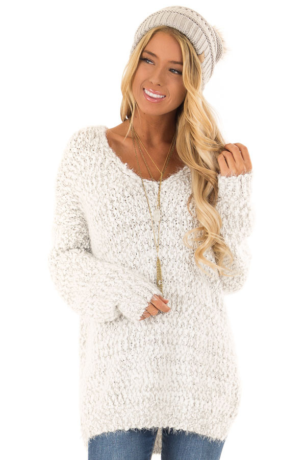 4b1ccd9c8d7 Light Grey Two Tone Cozy Popcorn Knit Deep V-Neck Sweater front close up