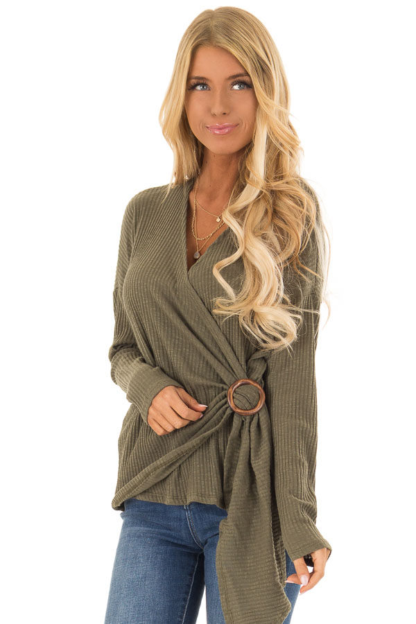 4399eea70c448 Olive Ribbed Knit Surplice Top with Buckle Detail - Lime Lush Boutique