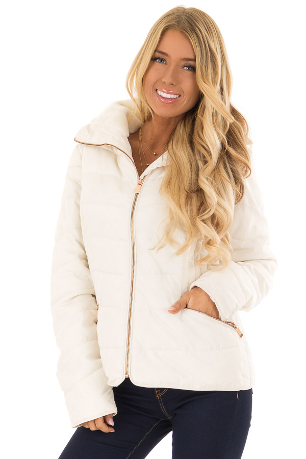 Ivory Quilted Puffer Jacket with Faux Fur Lined Collar front close up
