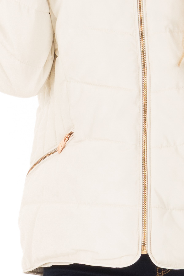 Ivory Quilted Puffer Jacket with Faux Fur Lined Collar detail