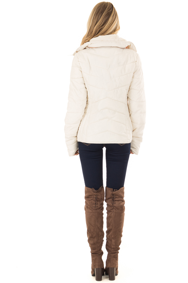 Ivory Quilted Puffer Jacket with Faux Fur Lined Collar back full body