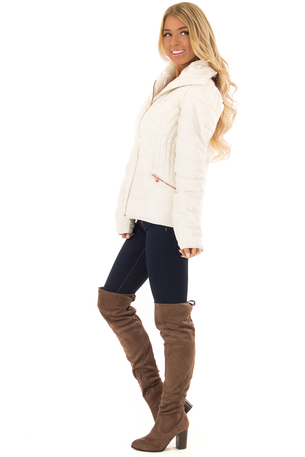 Ivory Quilted Puffer Jacket with Faux Fur Lined Collar side full body
