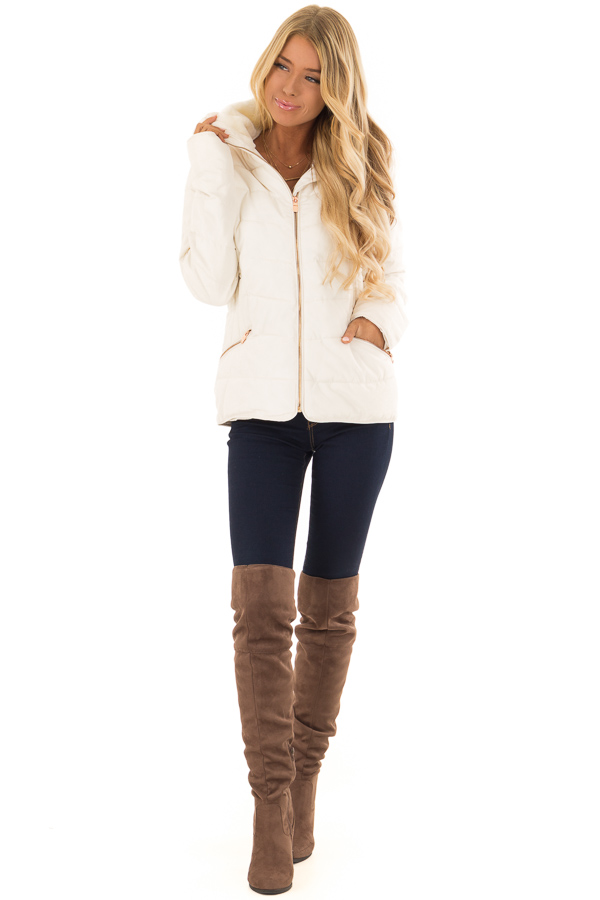 Ivory Quilted Puffer Jacket with Faux Fur Lined Collar front full body