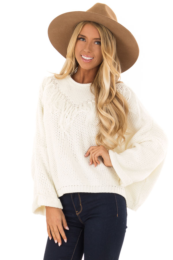 Cream Relaxed Fit Sweater with Fringe Detail front close up