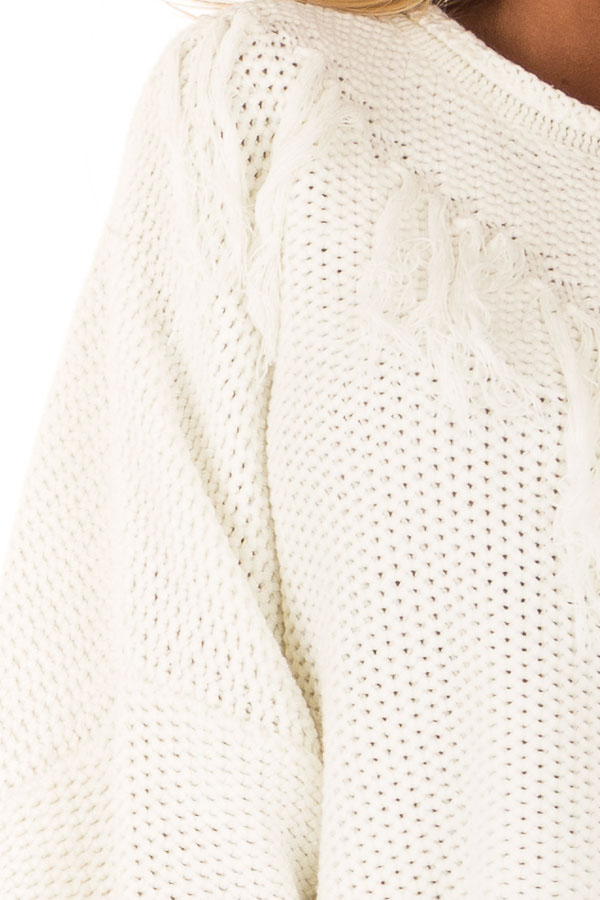 Cream Relaxed Fit Sweater with Fringe Detail detail