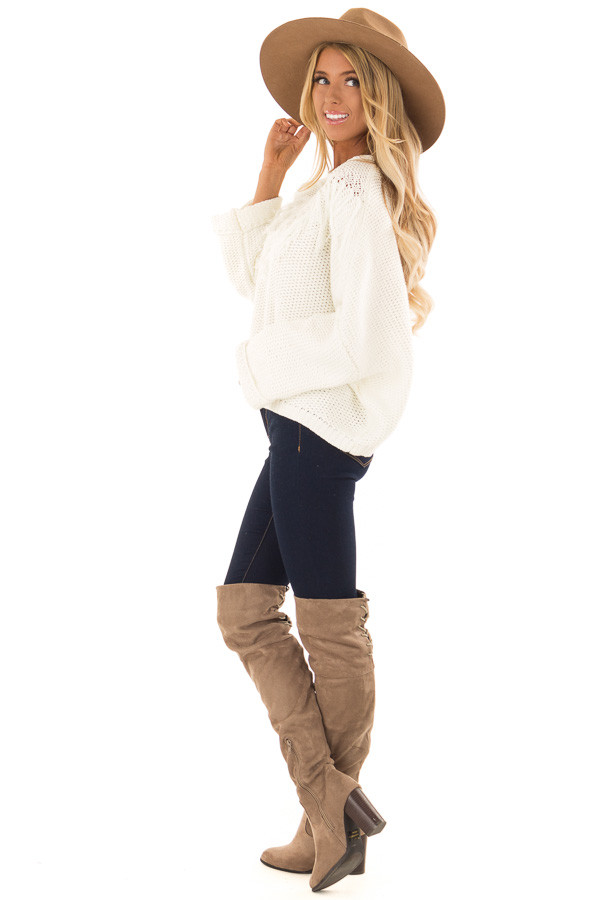 Cream Relaxed Fit Sweater with Fringe Detail side full body