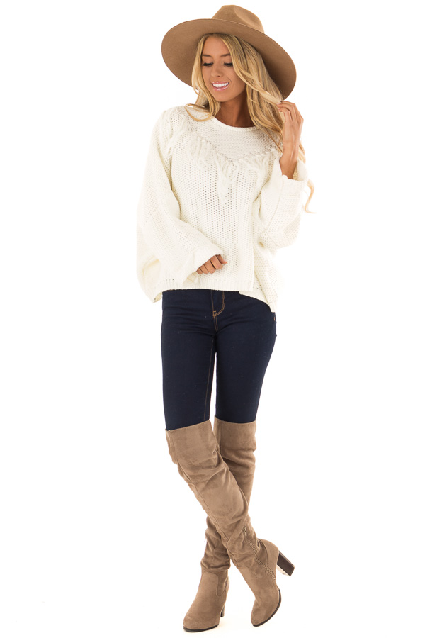 Cream Relaxed Fit Sweater with Fringe Detail front full body