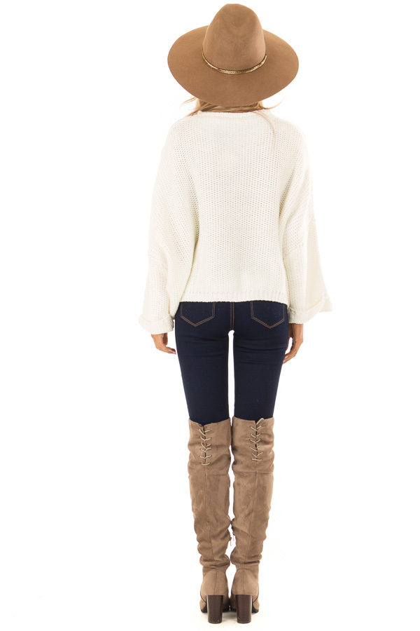 Cream Relaxed Fit Sweater with Fringe Detail back full body