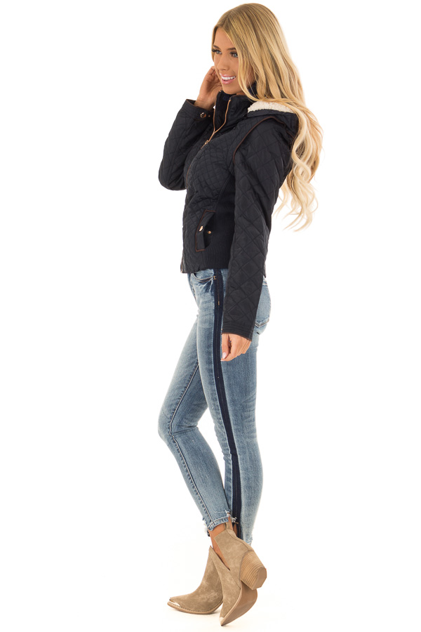 Navy Quilted Sherpa Lined Zip Up Jacket with Front Pockets side full body