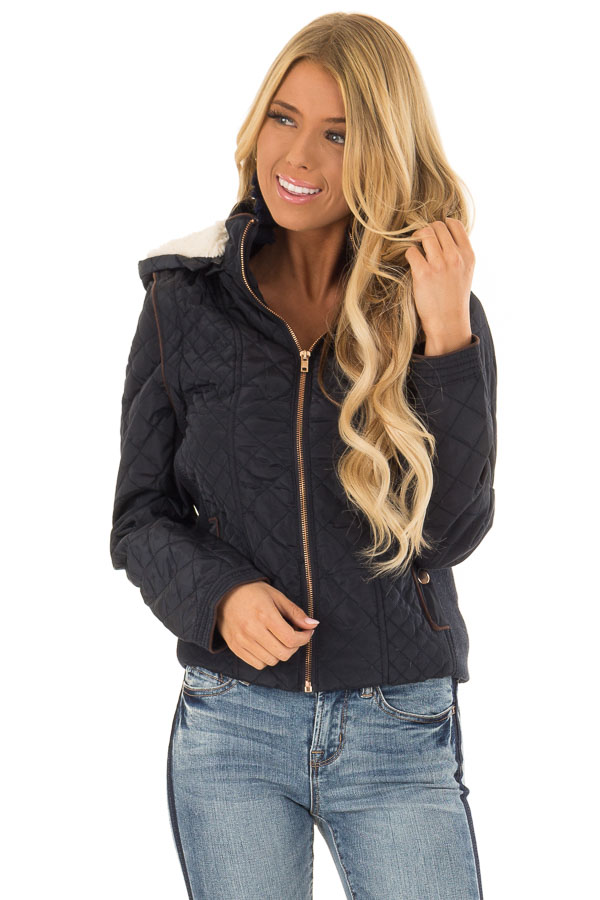 Navy Quilted Sherpa Lined Zip Up Jacket with Front Pockets front close up