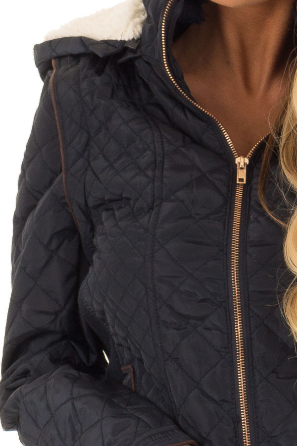 Navy Quilted Sherpa Lined Zip Up Jacket with Front Pockets detail