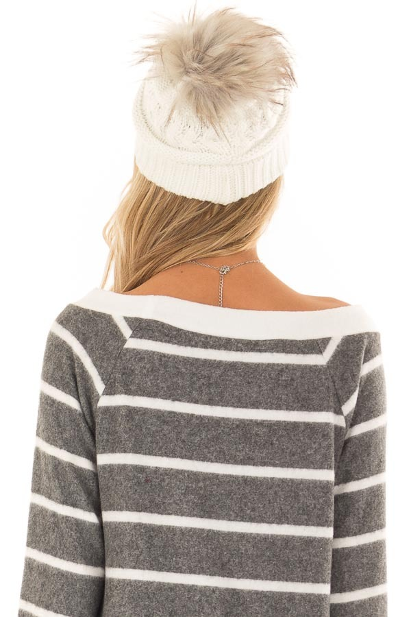 Ivory Cable Knit Beanie with Ombre Faux Fur Pom Pom back close up