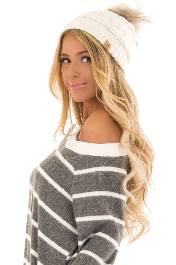 Ivory Cable Knit Beanie with Ombre Faux Fur Pom Pom side close up
