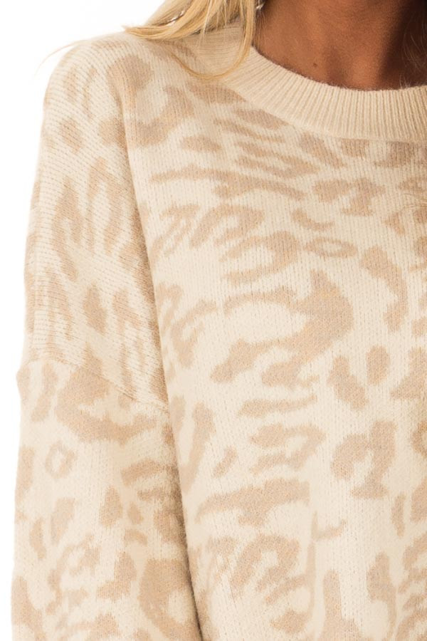 Cream and Taupe Leopard Print Balloon Sleeve Sweater detail