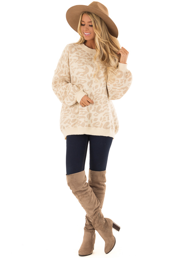 Cream and Taupe Leopard Print Balloon Sleeve Sweater front full body