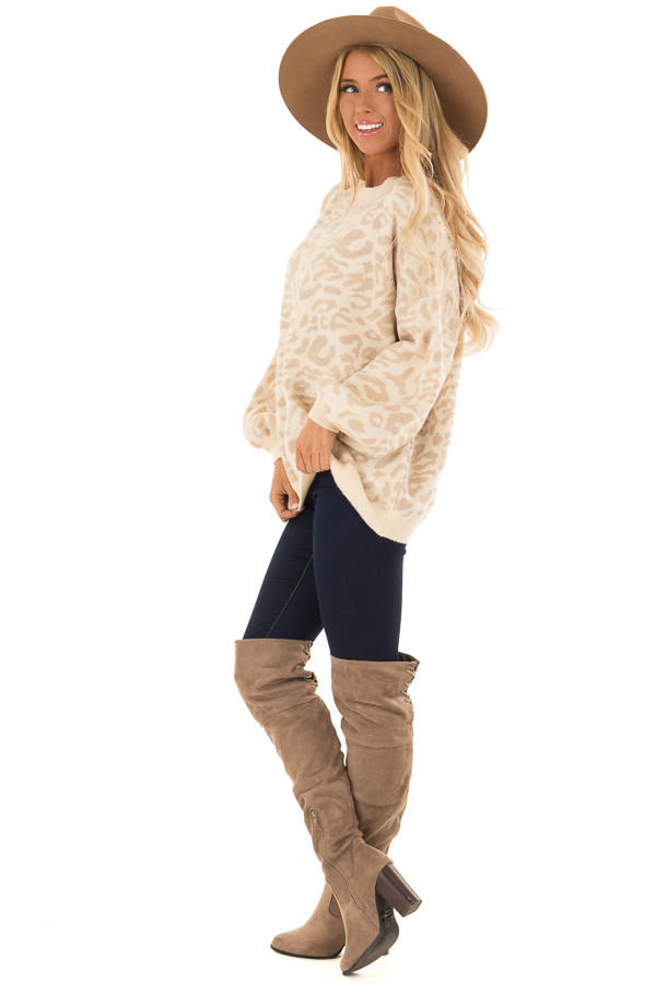 Cream and Taupe Leopard Print Balloon Sleeve Sweater side full body