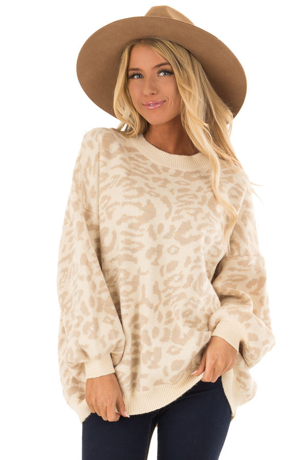 Cream and Taupe Leopard Print Balloon Sleeve Sweater front close up