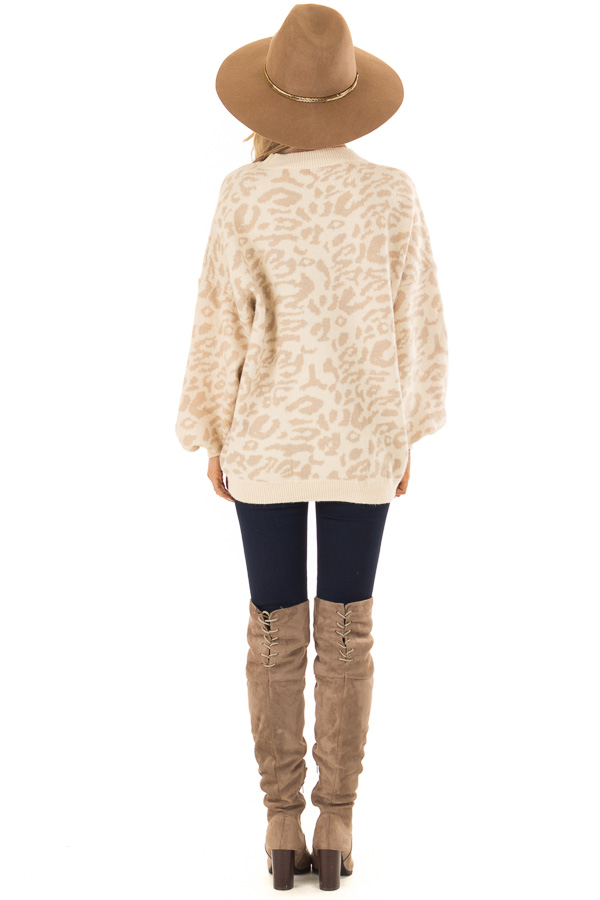Cream and Taupe Leopard Print Balloon Sleeve Sweater back full body