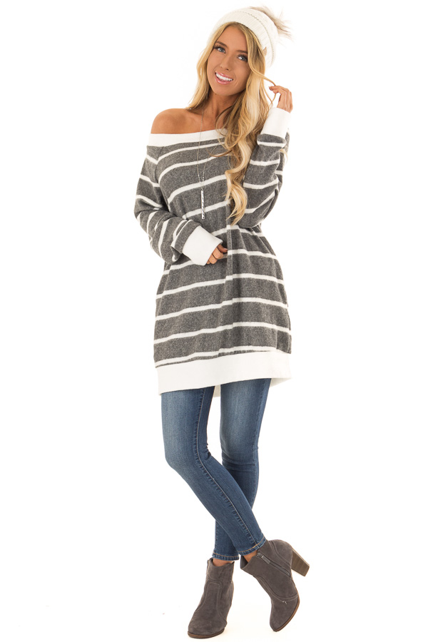 Stone Grey Striped Off the Shoulder Top with Hidden Pockets front full body
