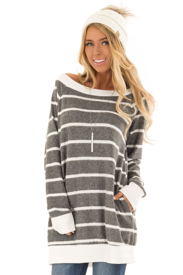 Stone Grey Striped Off the Shoulder Top with Hidden Pockets front close up
