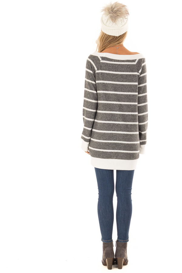Stone Grey Striped Off the Shoulder Top with Hidden Pockets back full body