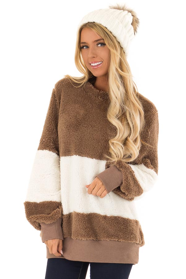 81a54165fe Mocha and Ivory Color Block Sherpa Pullover Sweater front close up