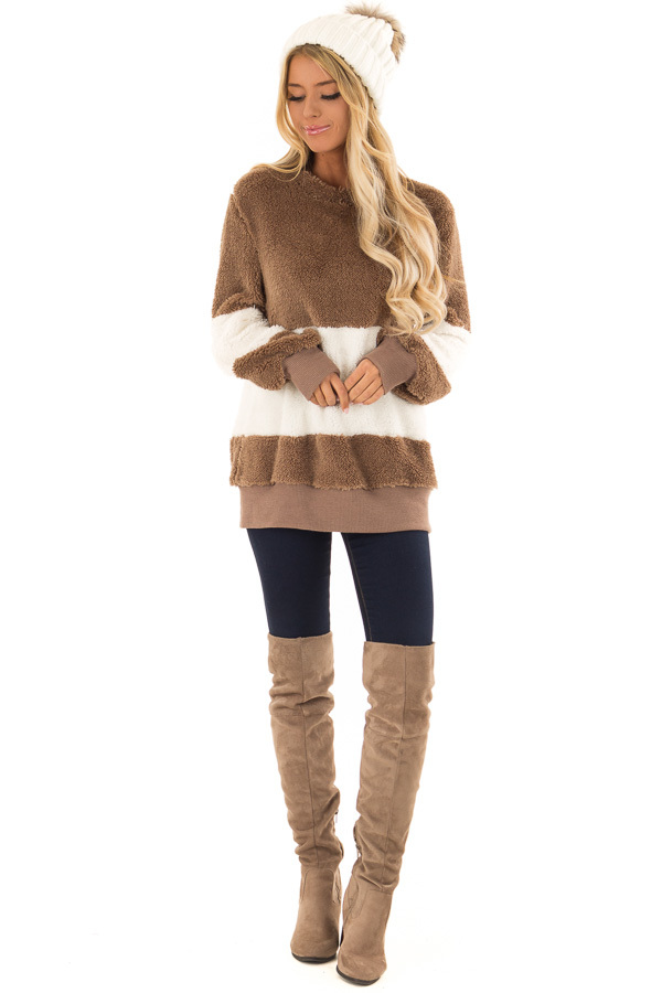 d5eb9be3d3 ... Mocha and Ivory Color Block Sherpa Pullover Sweater front full body ...