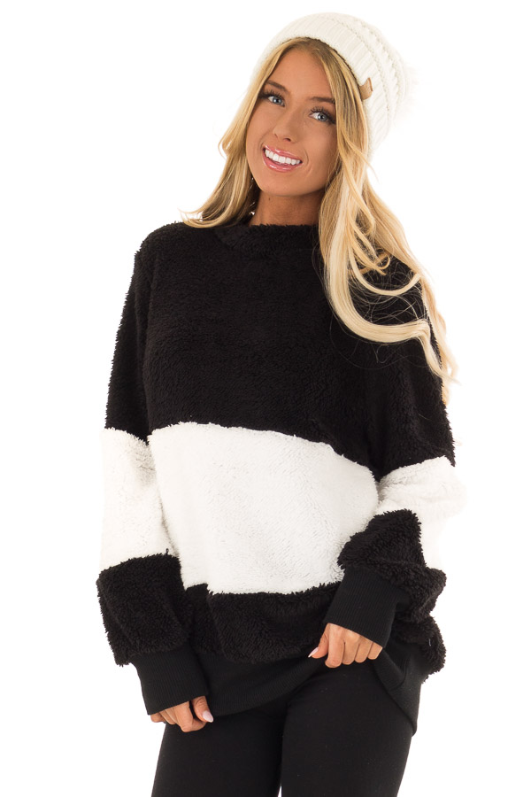 58261a9fdd Black and White Color Block Sherpa Pullover Sweater front close up