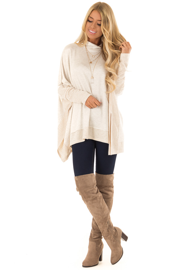 812f7436b4ac7c ... Oatmeal French Terry Poncho Top with Long Sleeves front full body ...