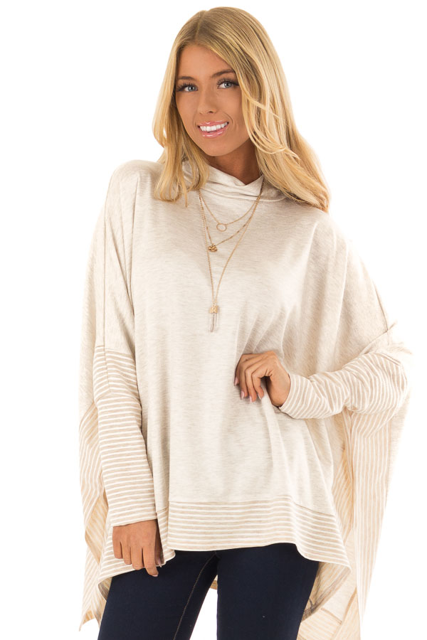 7ab5a33f32deda Oatmeal French Terry Poncho Top with Long Sleeves - Lime Lush Boutique
