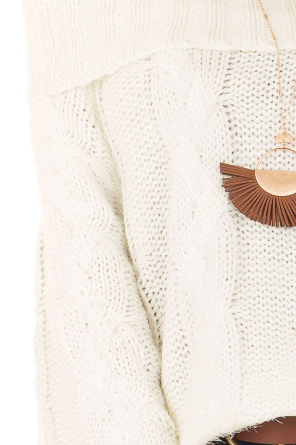 Ivory Off the Shoulder Long Sleeve Cable Knit Sweater detail