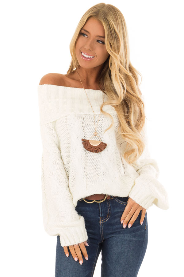 Ivory Off the Shoulder Long Sleeve Cable Knit Sweater front close up