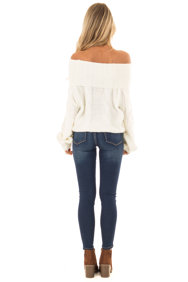 Ivory Off the Shoulder Long Sleeve Cable Knit Sweater back full body