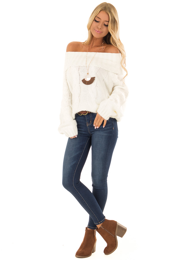 Ivory Off the Shoulder Long Sleeve Cable Knit Sweater front full body