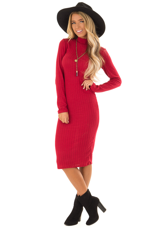 9aa19cd773ae Candy Red Ribbed Knit Mock Neck Long Sleeve Midi Dress front full body