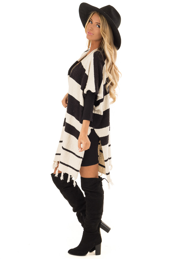 Off White and Black Striped Open Front Poncho with Fringe side full body