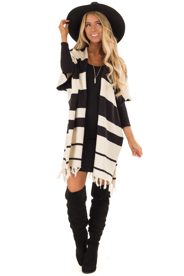 Off White and Black Striped Open Front Poncho with Fringe front full body