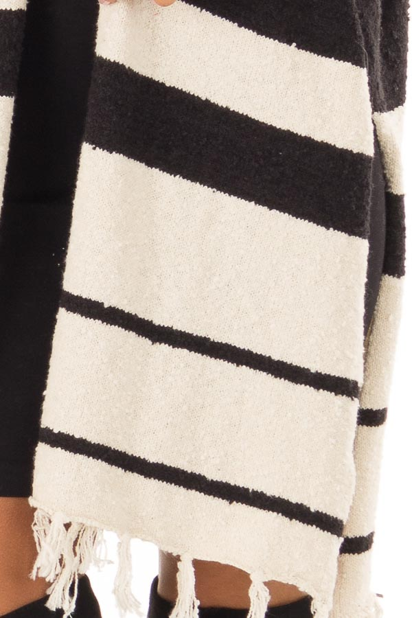 Off White and Black Striped Open Front Poncho with Fringe detail
