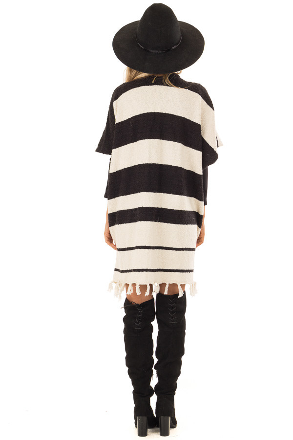 Off White and Black Striped Open Front Poncho with Fringe back full body