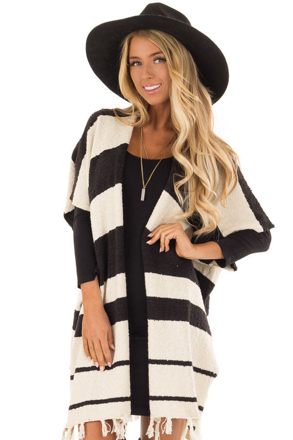 Off White and Black Striped Open Front Poncho with Fringe front close up
