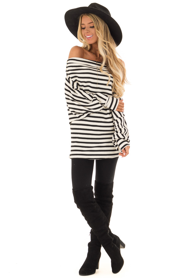 12594215860b31 ... Off White and Black Off the Shoulder Long Balloon Sleeve Top front full  body ...