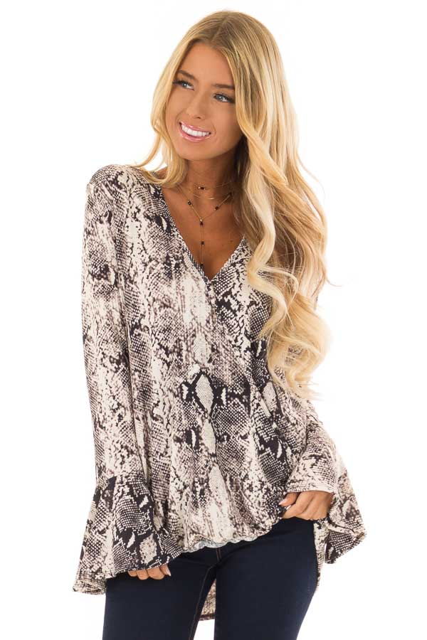 75133ec69fbdb Black and Ivory Snake Print Blouse with Long Trumpet Sleeves front close up