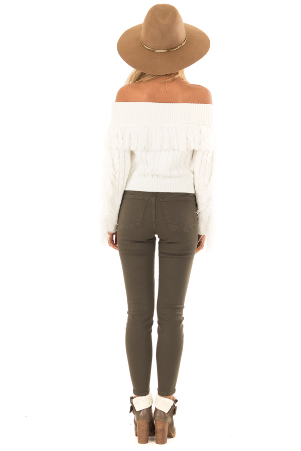Olive High Waisted Skinny Jeans with Pockets back full body