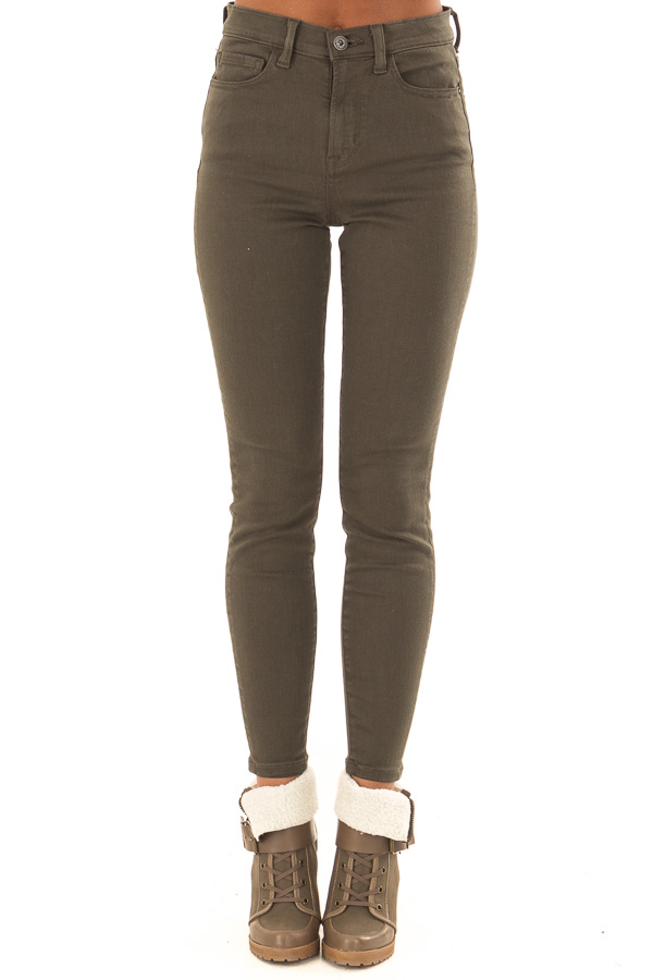 Olive High Waisted Skinny Jeans with Pockets front view