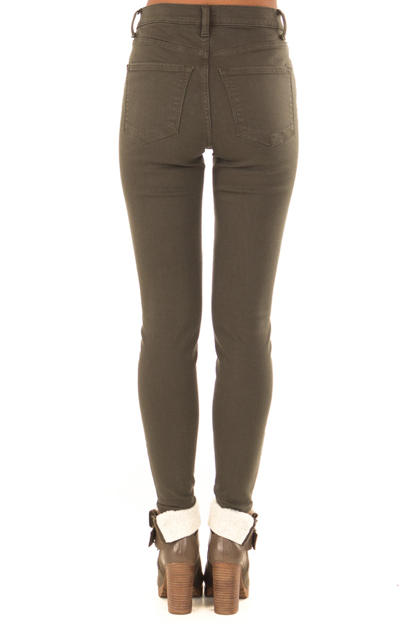 Olive High Waisted Skinny Jeans with Pockets back view